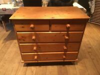 Pine set of chest of drawers