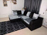 AMAZING NEW COLOURS -- New Crush velvet Fabric Corner Sofa- and 3 + 2 seater sofa set