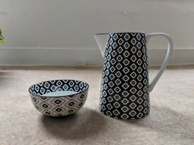 Jug and bowl, black and white matching design, brand new and unused
