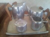 Piquot ware teaset and kettle