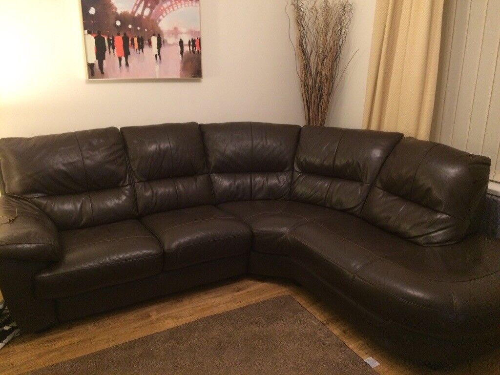 DARK BROWN LEATHER CORNER SOFA FOR SALE | in Ebbw Vale, Blaenau Gwent |  Gumtree