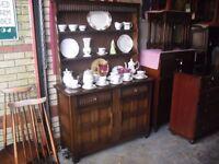 Wonderful Genuine Priory Oak Plate Rack Sideboard Dresser