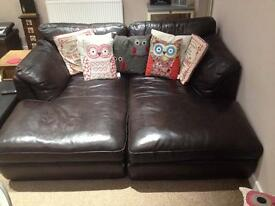 2x leather chaise lounge sofas