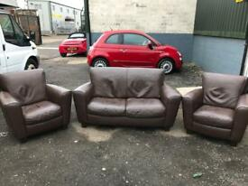 Great little brown leather 3 piece suite can deliver