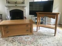 Light oak coffee and console table
