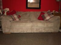 3 seater light brown corduroy sofa plus chocolate brown armchair for sale