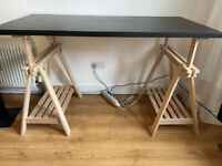 Ikea large work desk with trestle legs and stool