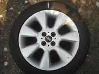 MINI COOPER 7 SPOKE ALLOY WHEELS WITH TYRES AND WHEEL NUTS..USED £85.