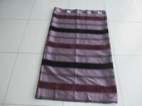 FULLY LINED PAIR OF BURGUNDY STRIPED CURTAINS