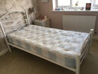 Girls white metal bed frame with mattress heart design