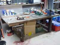 Large carpenters island workbench with 9 inch Carpenters vice & 6 inch Engineers vice
