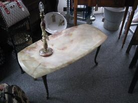 Beautiful Original Retro Solid Onyx Coffee Table & Lamp