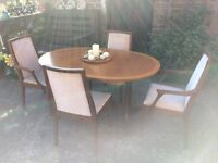 Furniture* Nathan 'Master Craftsmen' teak extendable table and 4 Upholsterd chairs 'Retro'