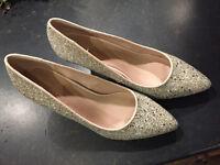 Kurt Geiger Carvela Silver Kairo Glitter Court Shoes Size 39