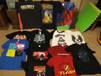 13 T shirts size S & M , Flash, Stark, DR Who,Superman....