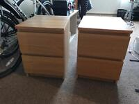 Two IKEA bed side cabinets