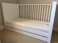 Beautiful white wooden cot/cotbed with underbed storage drawer