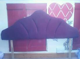 Maroon velvet double bed headboard