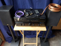 CAMBRIDGE AUDIO CD PLAYER AND AMPLIFIER WITH GALE SPEAKERS AND STANDS
