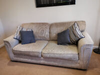 3 + 2 Seater sofa with matching stoarge footstool Oatmeal/Beige