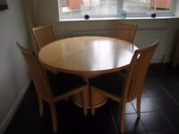 High quality Table and chairs in Maple wood made by Danish company SKOVBY.