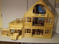 Lovely ELC Wooden Dolls House with Lots of Accessories !