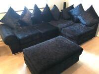 Black Corner Sofa - Crushed Velvet **Brilliant Condition**