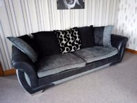 4 seater plus cuddle chair that fits 2 people big cushions on the back sofa is 8ft