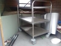 Sturdy stainless steel - wheeled catering trolley for sale - a bargain at £30! Needs a new home !