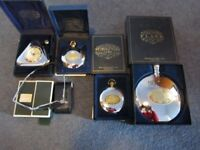 DALVEY collection, individually priced. Clocks, hip flask. Playing cards & compact sunglasses, boxed