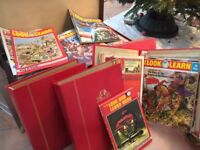Almost complete set of reasonable-quality Look & Learn magazines, some binders & 1975 Annual