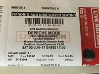 Depeche Mode London single ticket face value