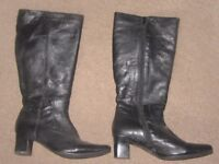 Ladies black, leather, knee length boots. Size 6