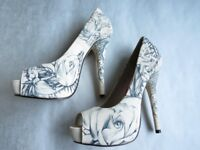 IRON FIST CREAM AND GREY TATTOO LADIES SHOES