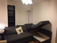 free furniture to collect (a brand new sofa with storage space, a chair, and shelves)