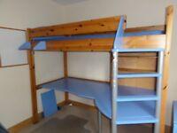 STOMPA 'Studio 90' Single Desk Bunk Bed - Pine & Blue