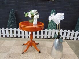 ITALIAN INLAID ROUND SIDE/LAMP TABLE WITH 2 DRAWERS VERY SOLID TABLE AND IN EXCELLENT CONDITION