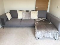 IKEA Two Seat Sofa w Chaise Longue Right Light Grey w Chrome Plated Legs FAB COND <18MNTH