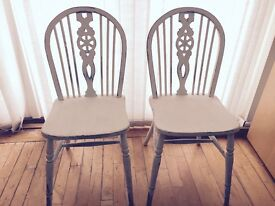 2 x White Dining Chairs - Antique, shabby chic, handmade