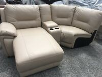 New/Ex Display ScS Leather Corner Sofa + Chaise + Media Tray Cup Holders