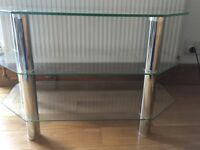 TV CORNER STAND IN GLASS, EXCELLENT CONDITION