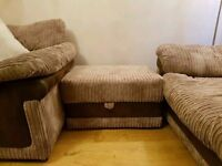 dfs two 3 seater sofas identical plus storage footstool vgc