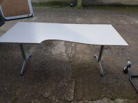 Herman Miller Adjustable Curved Desk Corner workstations, light grey #210W