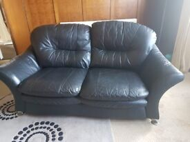 Black Leather 2 Seater and Recliner Armchair