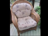 Conservatory Cane Furniture - 2 seater sofa, 2 chairs & glass top table.