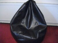 LARGE DARK BROWN FAUX LEATHER BEANBAG GOOD QUALITY