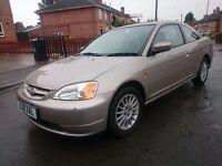 2001..HONDA CIVIC COUPE 1.7 VTECH...LONG MOT..AUTOMATIC...CLEAN CAR