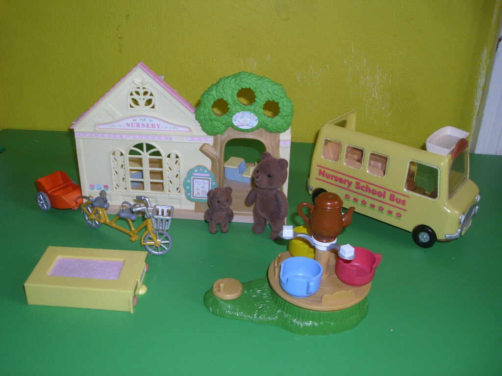 SYLVANIAN FOREST NURSERY , BUS, TRAMPOLINE, TANDEM BIKE & TRAILER, TEA CUP RIDE