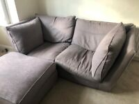 Grey fabric 3 seater sofa with footstool
