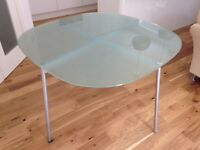 Contemporary Habitat Dining Table with matt silver base & opaque toughened glass top